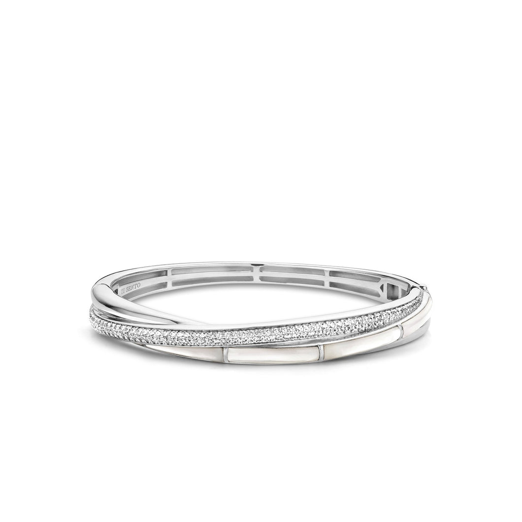 Sterling Silver Cz and Mother-of-Pearl hinged bangle