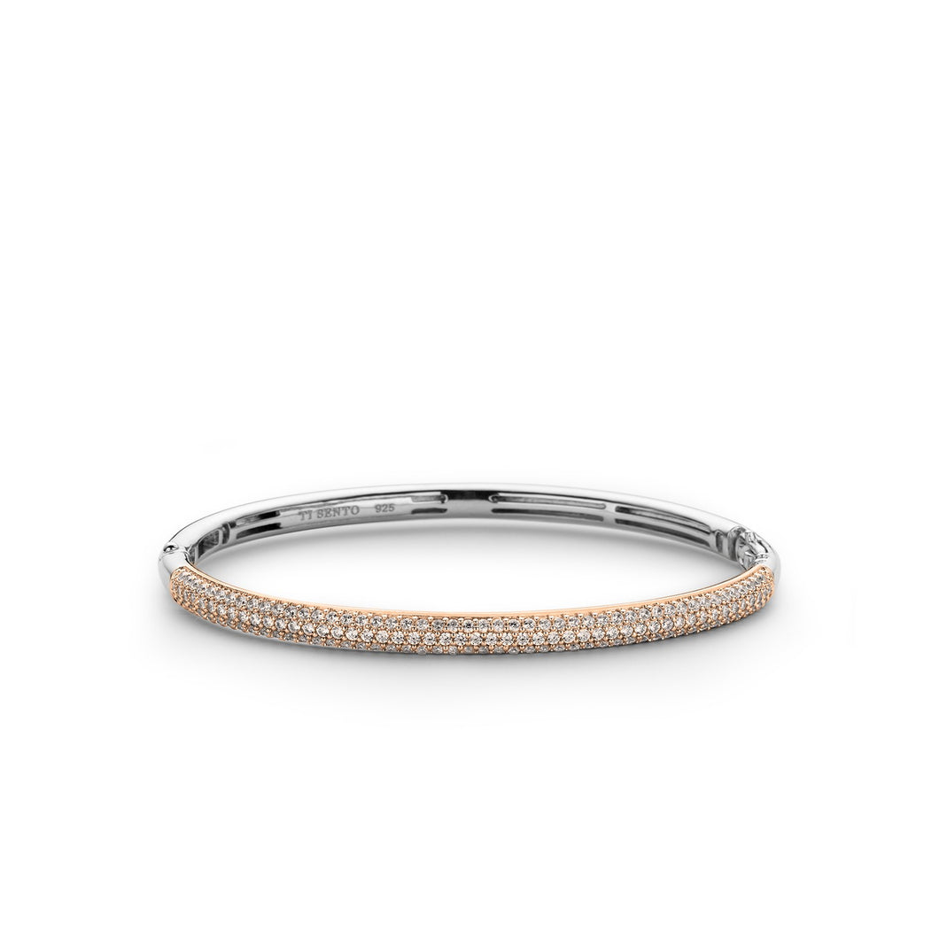 Sterling Silver and yellow gold plated hinged bangle