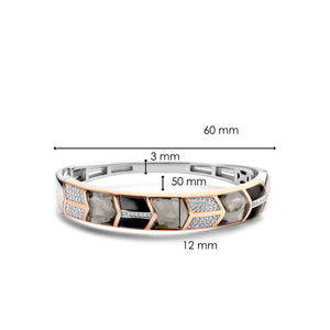 Sterling Silver and rose gold plated hinged bangle set with grey and black stones