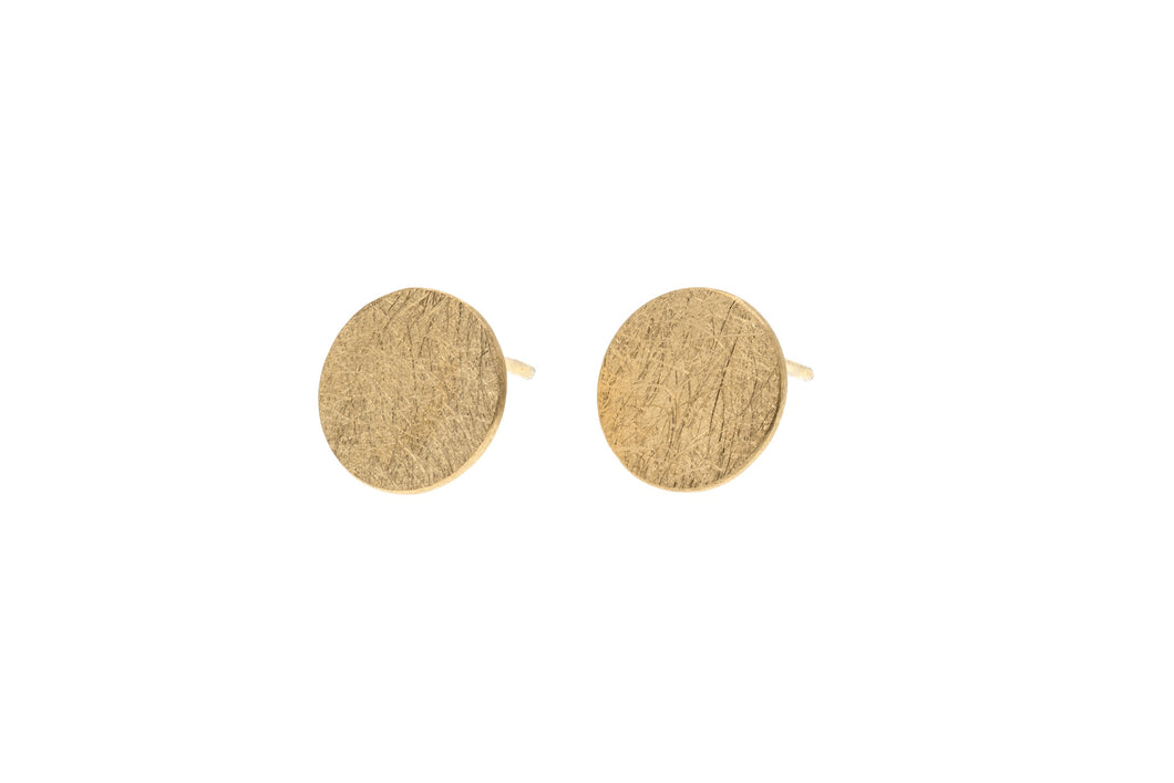Large round brushed finish Sterling Silver vermeil studs