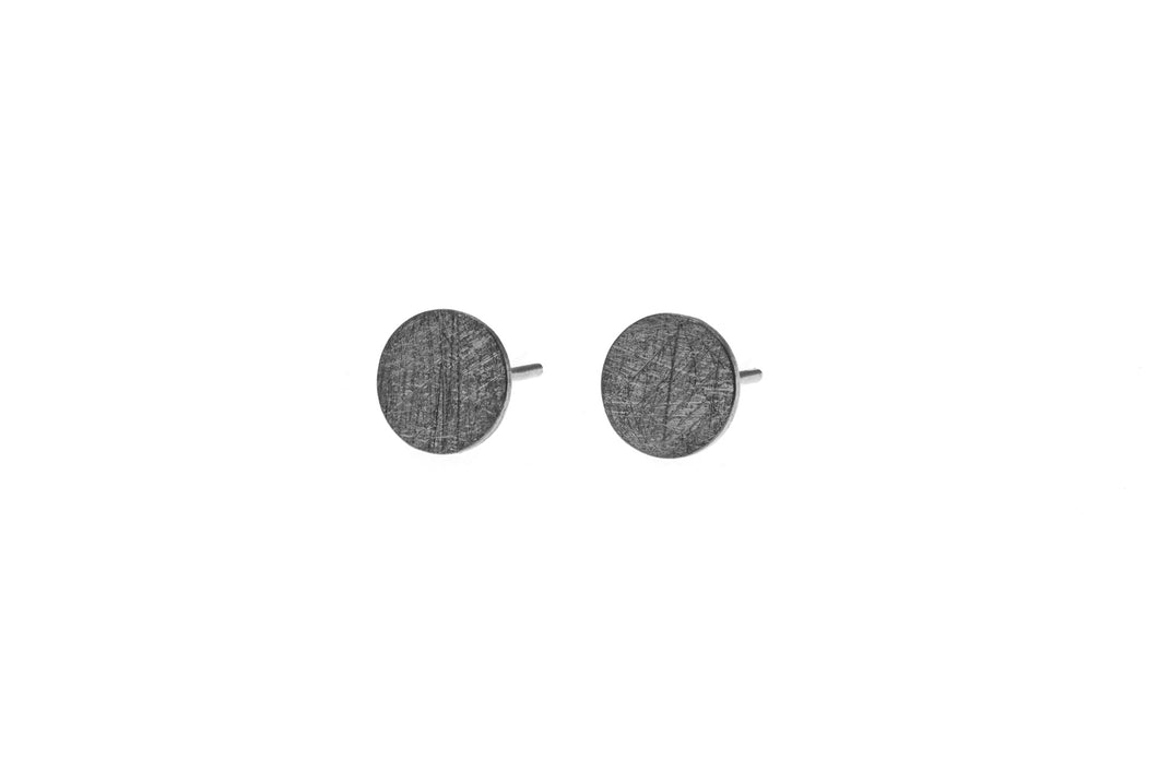 Deco Echo Earrings Small Round Black Oxidised Sterling Silver Studs
