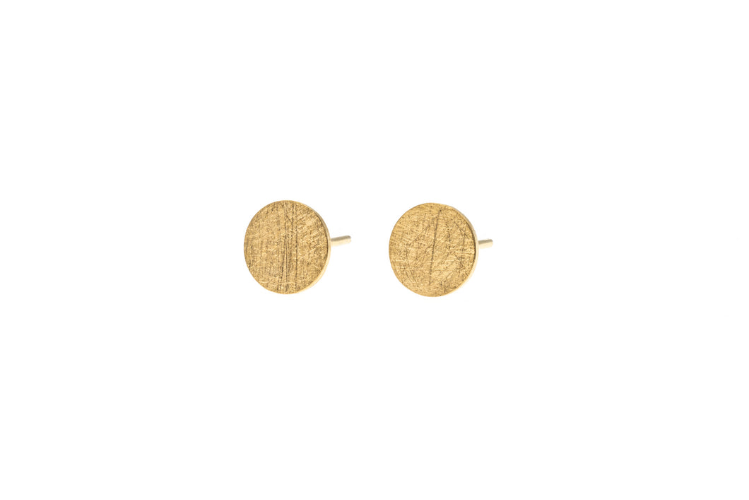 Medium round brushed finish Sterling Silver vermeil studs