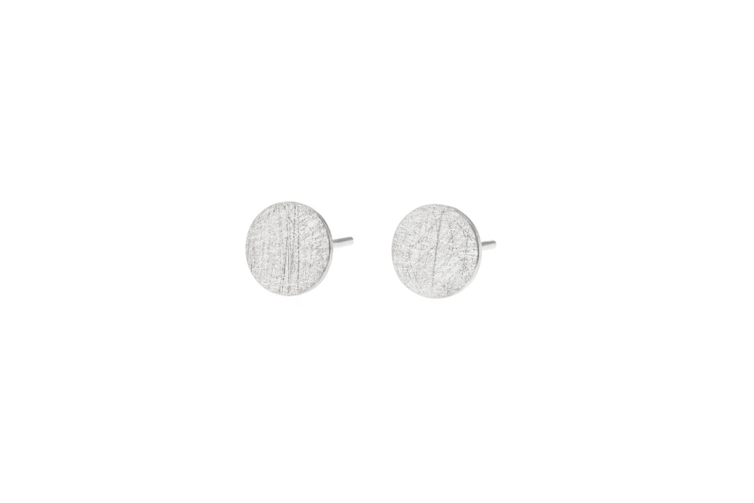 Deco Echo Earrings Medium Round Sterling Silver Studs