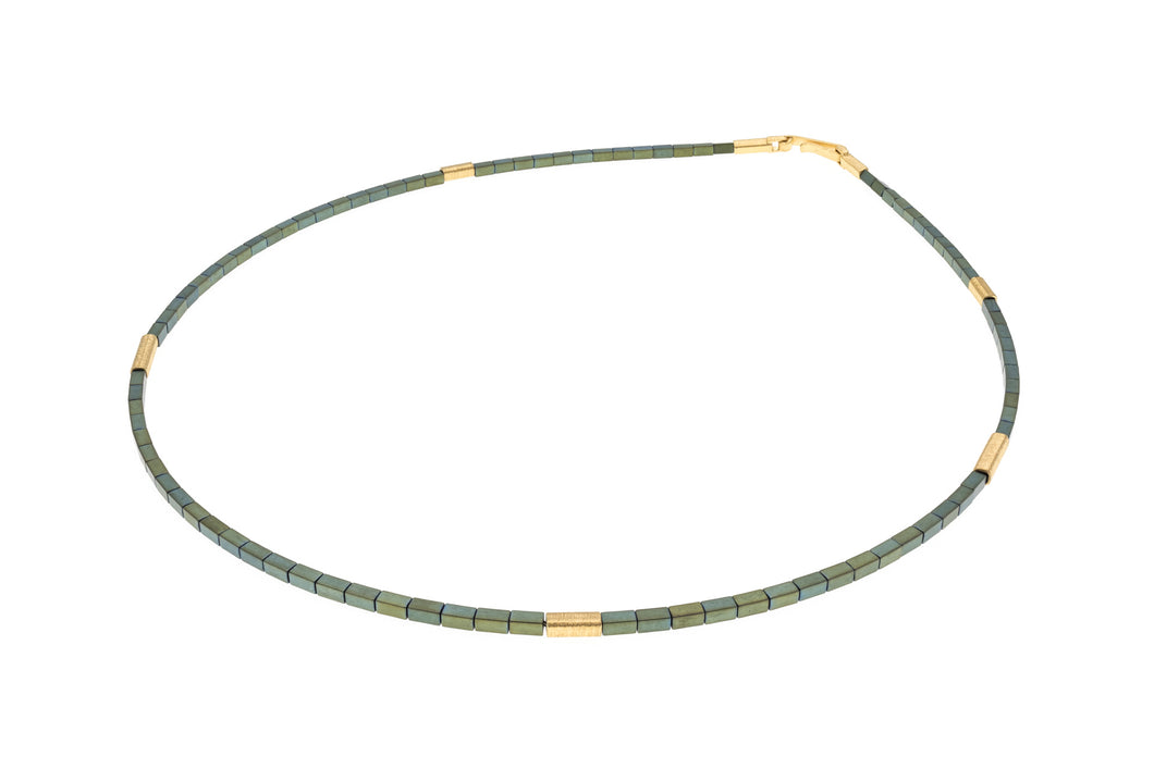 Short, 45cm vermeil & green haematite single strand necklace