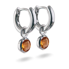 Load image into Gallery viewer, Small Sterling Silver Hoop Earrings with natural gemstone charms