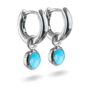 Small Sterling Silver Hoop Earrings with natural gemstone charms