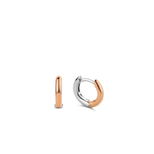 Load image into Gallery viewer, Small Silver Rose Gold plated Hoop Earrings