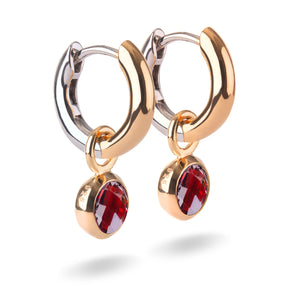 Small Yellow Gold Plated Silver Hoop Earrings with natural gemstone charms