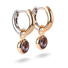 Load image into Gallery viewer, Small Yellow Gold Plated Silver Hoop Earrings with natural gemstone charms