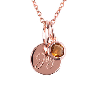 "18ct Rose Gold Vermeil ""Joy"" Pendants"