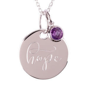 "Urban Armour Large Silver ""Hope"" Pendant with Pink Amethyst gemstone charm"