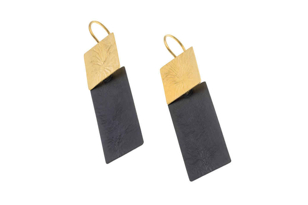Large two tone yellow vermeil and black oxidised earrings