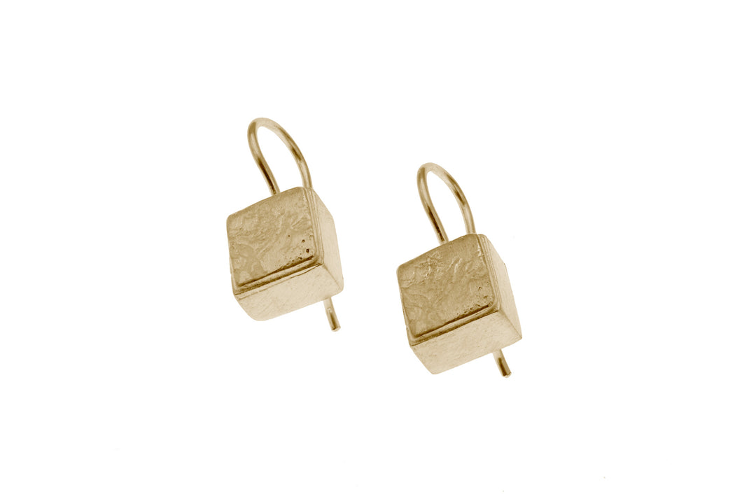 Cube shaped Silver vermeil drop earrings