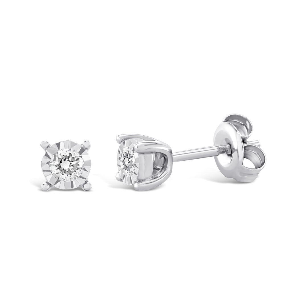 9ct White Gold 0.05ct Diamond stud earrings