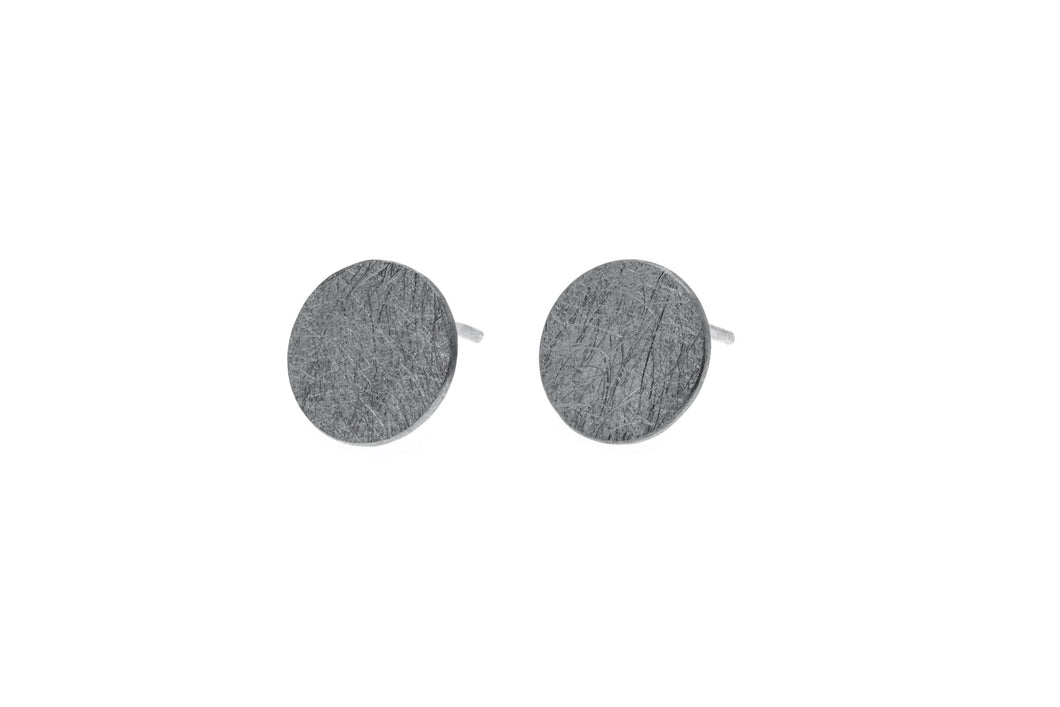 Large round black oxidised Sterling Silver brushed finish studs