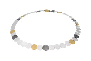 19cm circular link bracelet in 3 colour finish of Sterling Silver, black oxidised and yellow vermeil