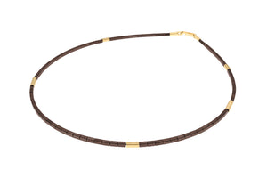 Short, 45cm vermeil & brown haematite single strand necklace