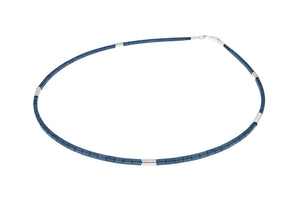 Sterling Silver & blue haematite single strand necklace