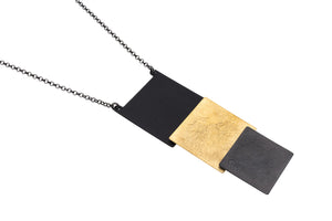 Vermeil and black oxidised pendant necklace
