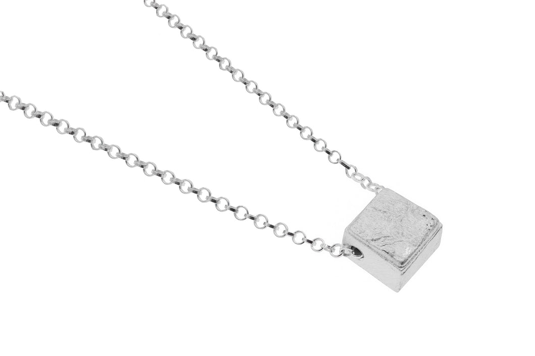 Sterling Silver cube shaped pendant on silver chain