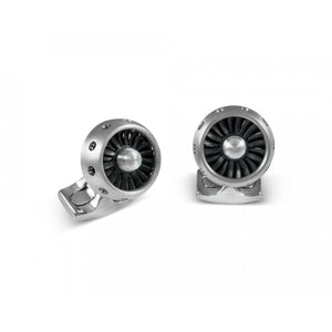 Deakin & Francis Jet Turbine Engine Cufflinks Brushed Aluminium