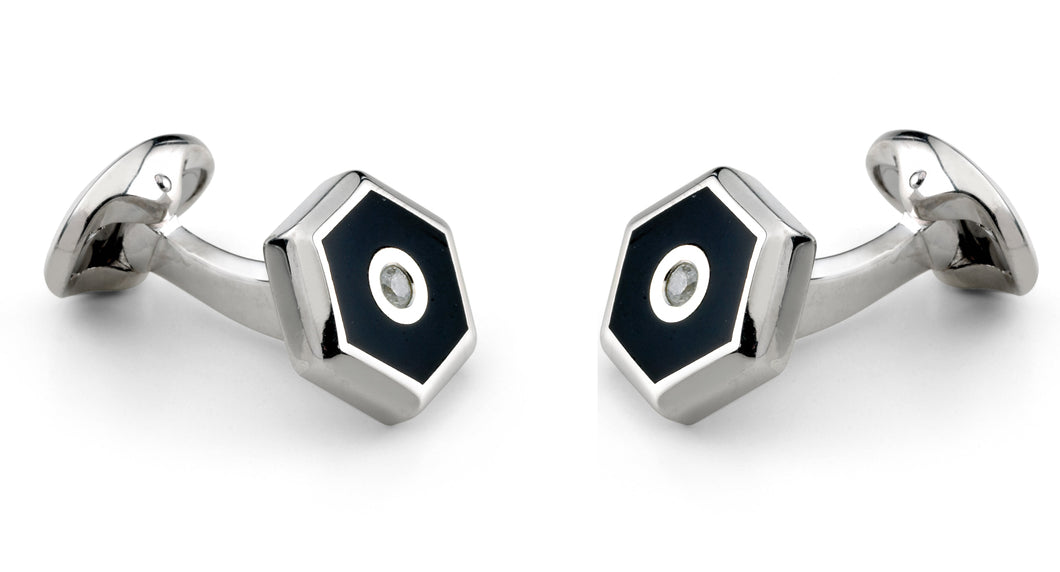 Deakin & Francis Sterling Silver Hexagonal Cufflinks With Onyx And Diamond