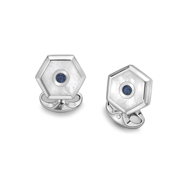 Deakin & Francis Sterling Silver Hexagonal Cufflinks With White Mother-Of-Pearl And Sapphire