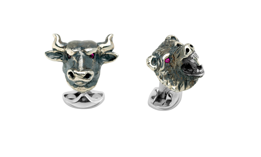 Deakin & Francis Sterling Silver Bull & Bear Cufflinks With Ruby Eyes
