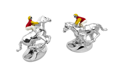 Deakin & Francis Red and Yellow Horse & Jockey Cufflinks