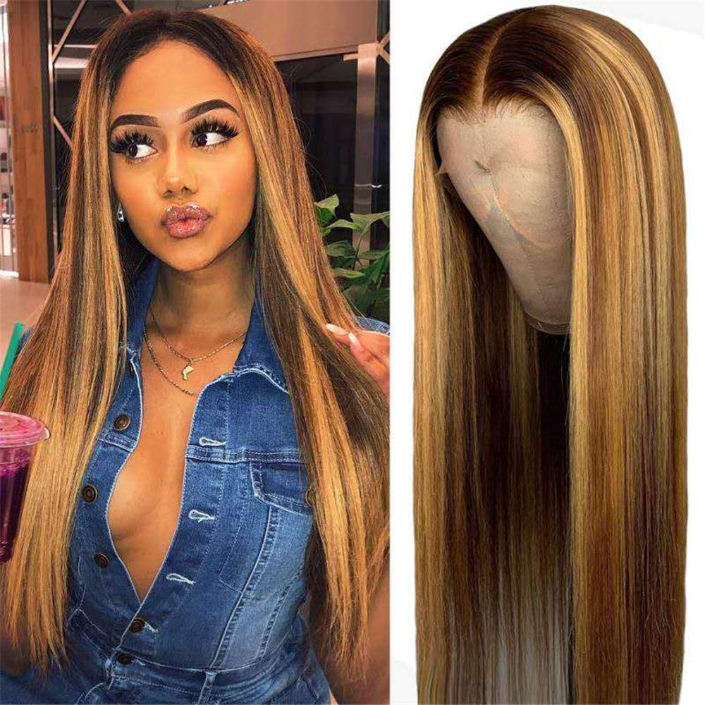 13x4 Lace Front Human Hair Wigs Brazilian Straight- Blond