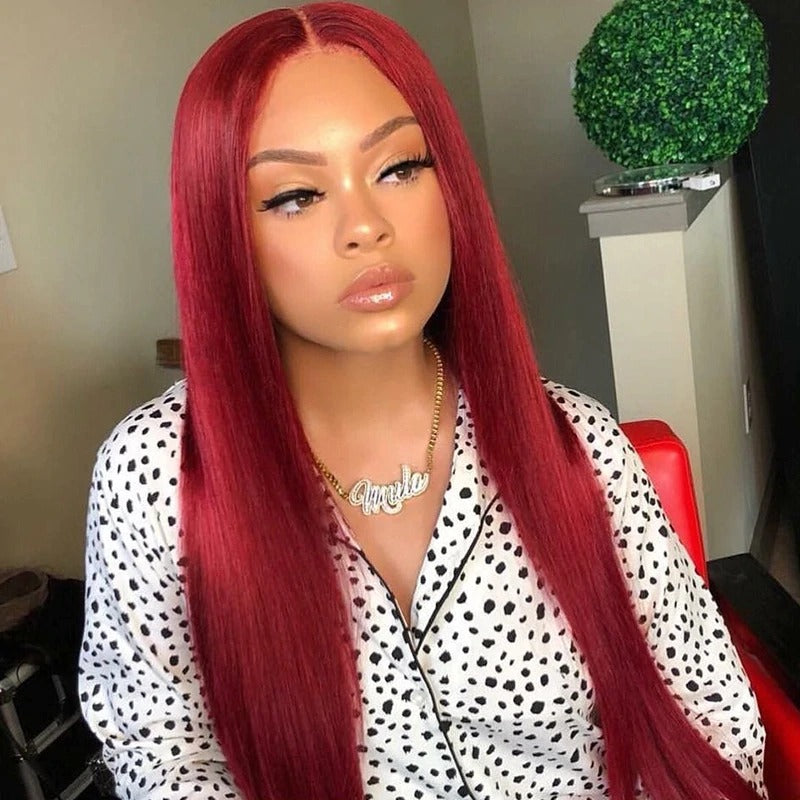 13x4 Lace Front Human Hair Wigs Brazilian Straight- Red