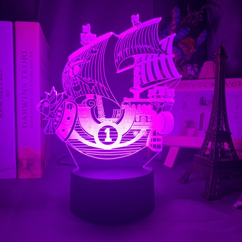 purple ONE PIECE Thousand Sunny Ship 3D LED Lamp
