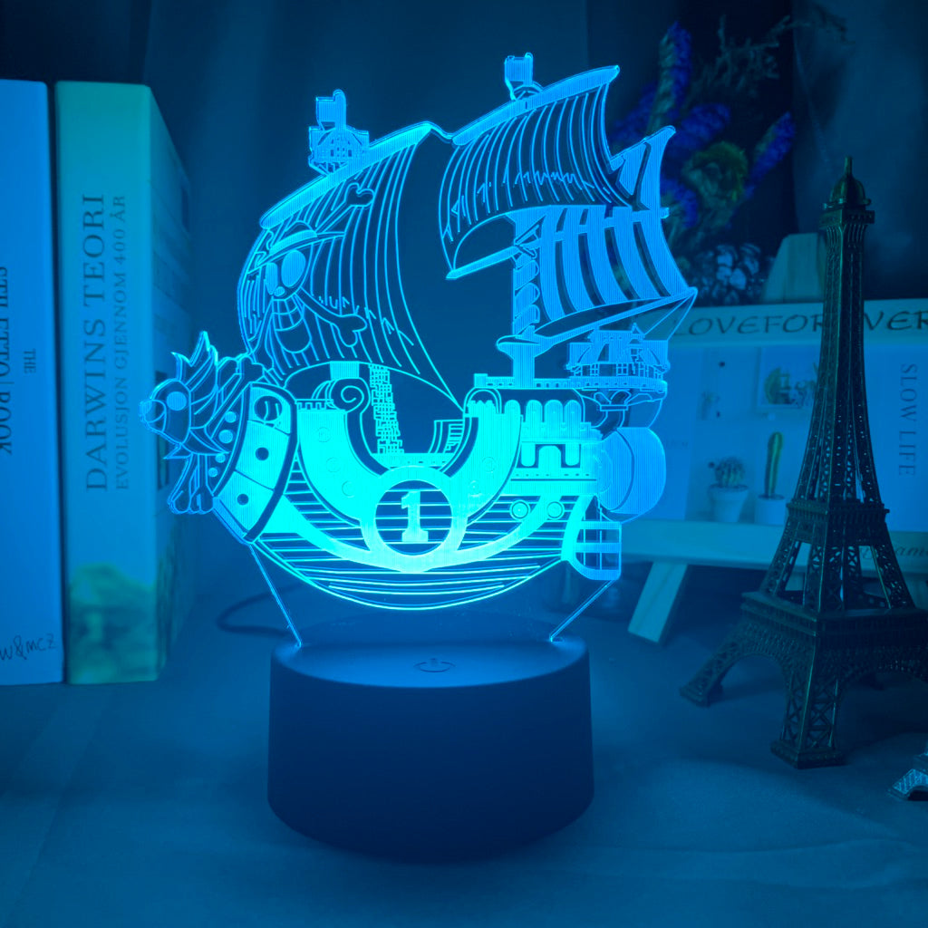 blue ONE PIECE Thousand Sunny Ship 3D LED Lamp