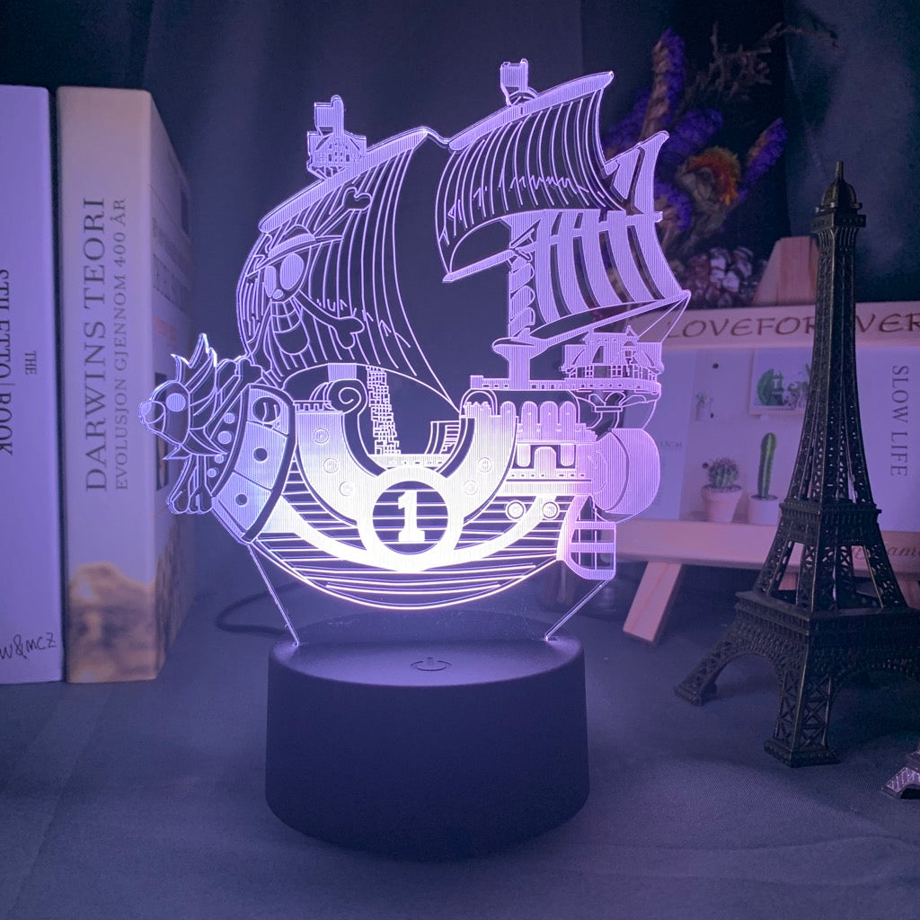 white ONE PIECE Thousand Sunny Ship 3D LED Lamp