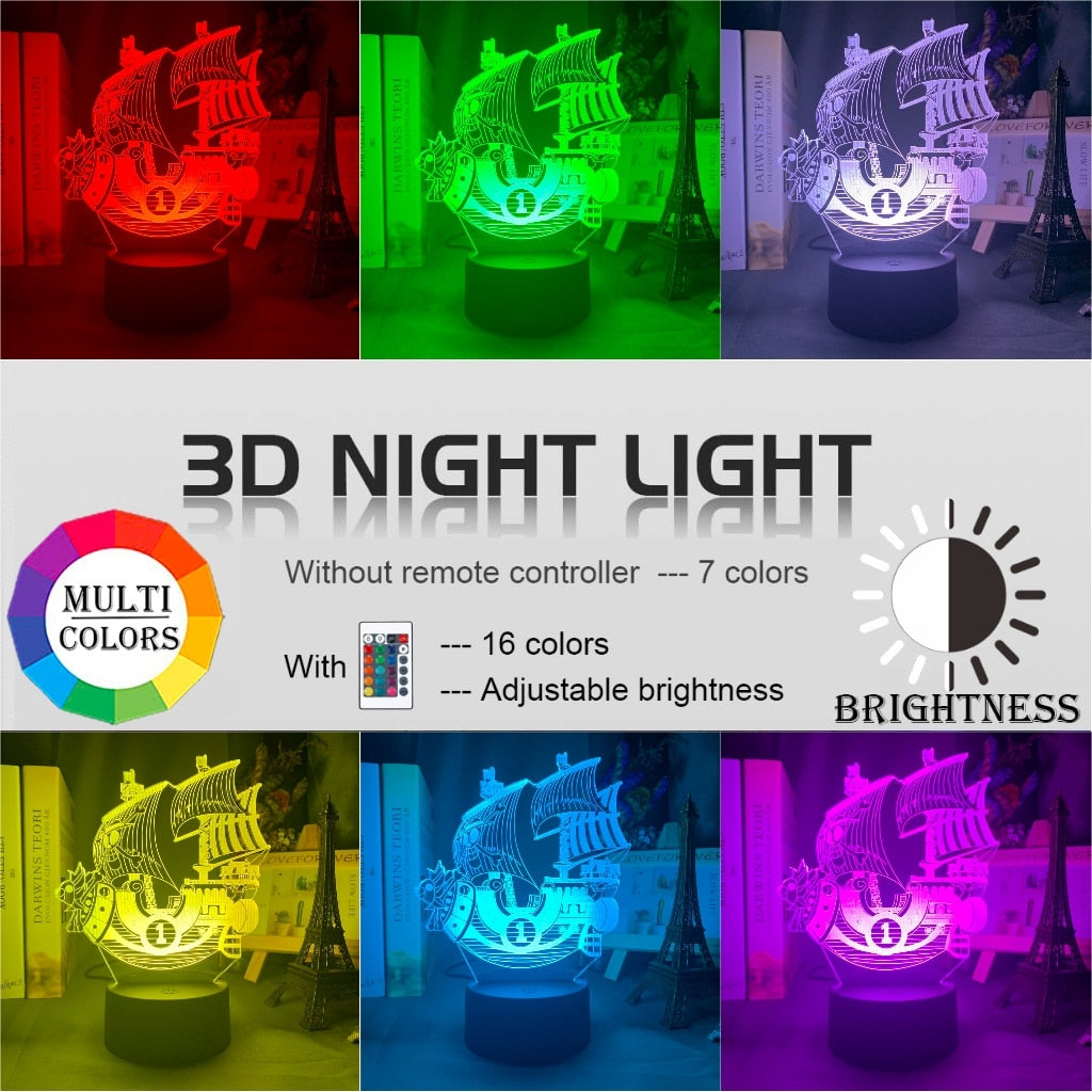 red, green, purple, yellow, blue, pink 3d Lamp Anime ONE PIECE Thousand Sunny Ship