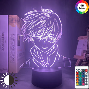 pink My Hero Academia Shoto Todoroki 3D LED Lamp