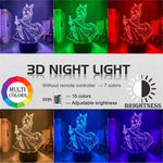 red, green, purple, yellow, blue, pink 3d Lamp Anime Demon Slayer Kocho Kanae