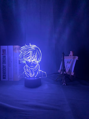 white My Hero Academia Shoto Todoroki 3D LED Lamp