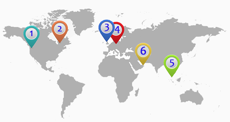 World map with MedRock distributor locations