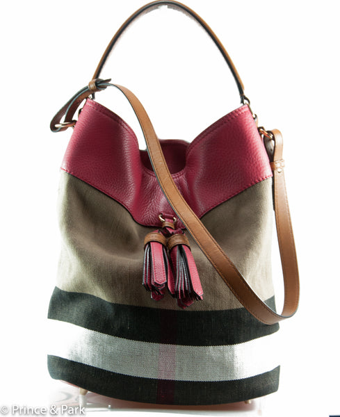 35a93f6144a6 Burberry Medium Ashby Canvas Check and Leather Shoulder Bag