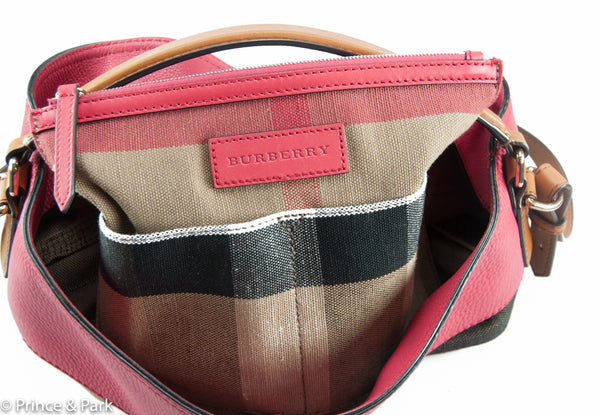 Medium Ashby in Canvas Check and Leather Shoulder Bag