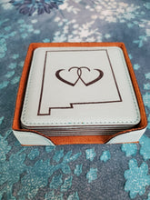 Load image into Gallery viewer, Leatherette Coasters, Turquoise NM Linked Hearts