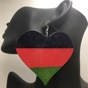 African American Flag Wooden Earrings