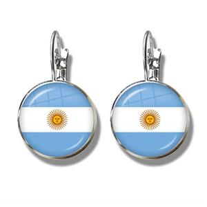 Argentina Flag Clip Earrings
