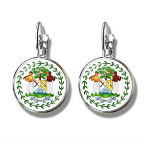Belize Coat of Arm Clip Earrings