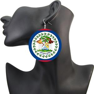 Belize Coat of Arm Wooden Earrings