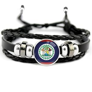 Belize Flag Leather Bracelets