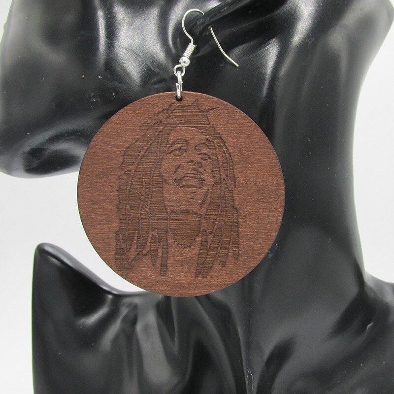 Bob Marley Wooden Earrings