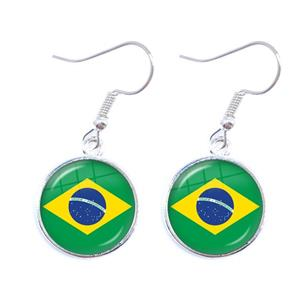 Brazil Flag Hook Earrings