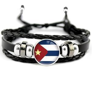 Cuba Flag Leather Bracelets